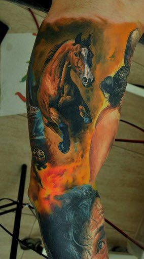 WOW! That is really beautiful.  One of the very best and most realistic and correct horse tattoos I've ever seen! Excellent work by Dmitriy Samohin