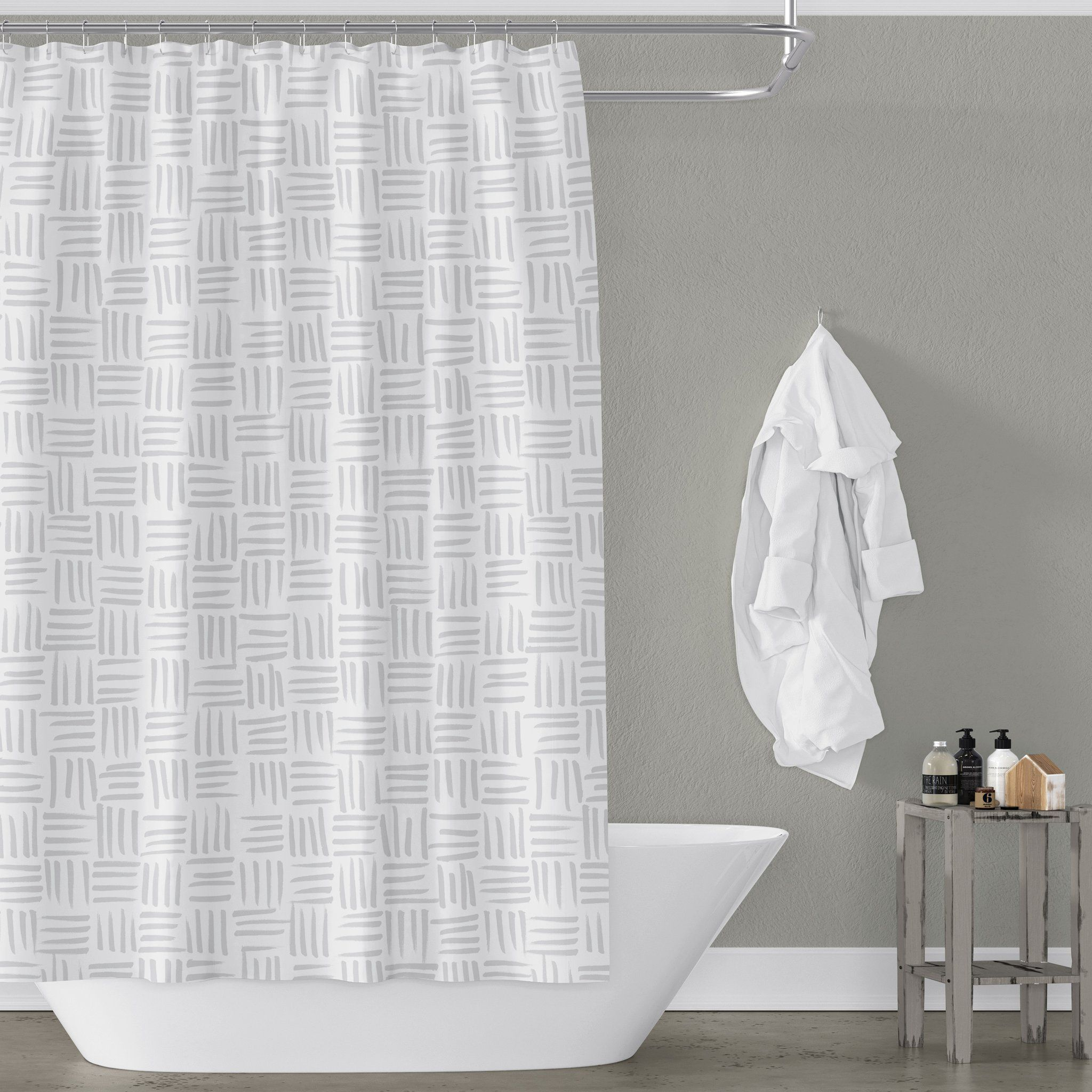 White And Beige Basketweave Pattern In 2020 Shower Curtain