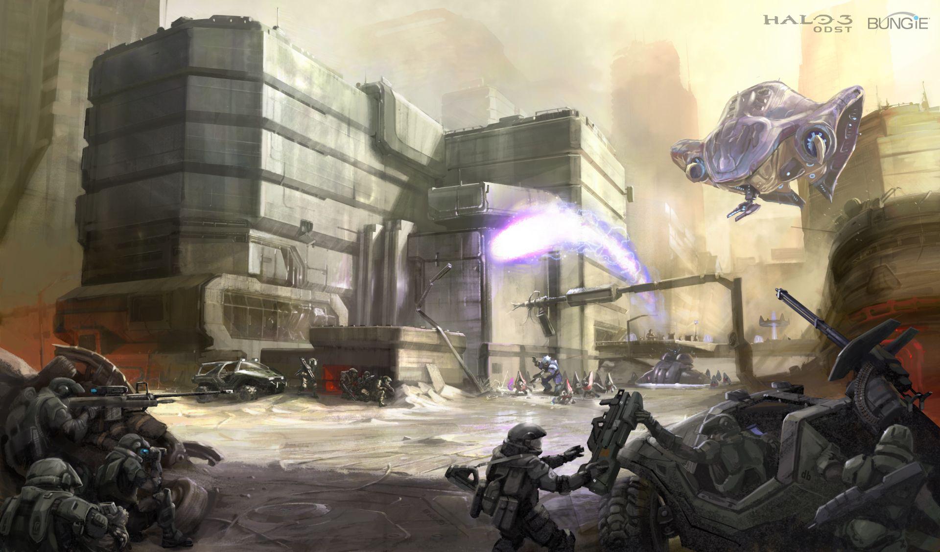 Halo 3 Odst Concept Art City Fight Jpg 1920 1128 Halo 3 Odst Concept Art Halo Series