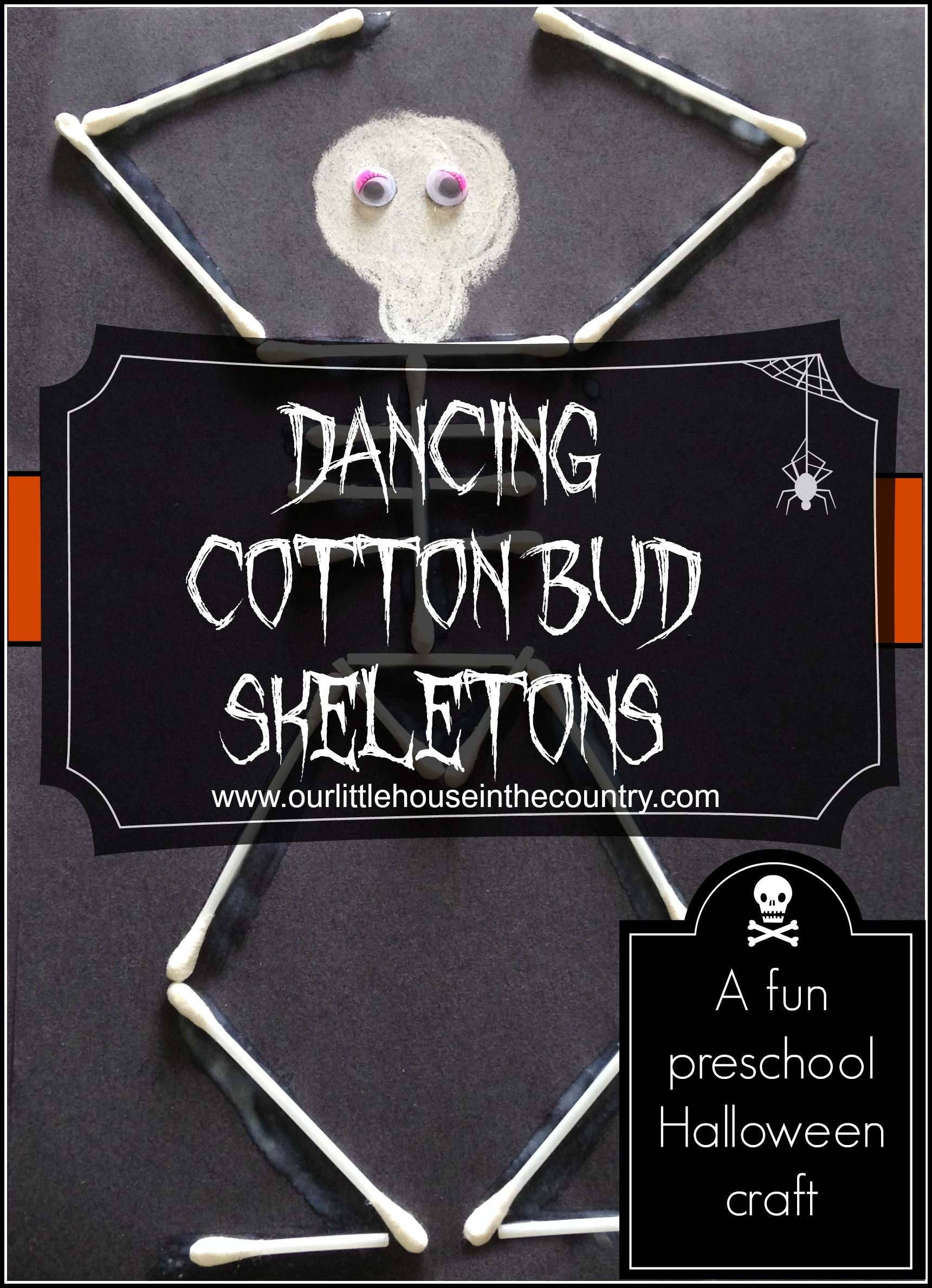 Dancing Cotton Bud Skeletons - a fun preschool #Halloween craft! #kidscrafts #education (repinned by Super Simple Songs)