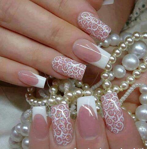 Designed Naiks French Polish Nails Pinterest Lace Nails Lace