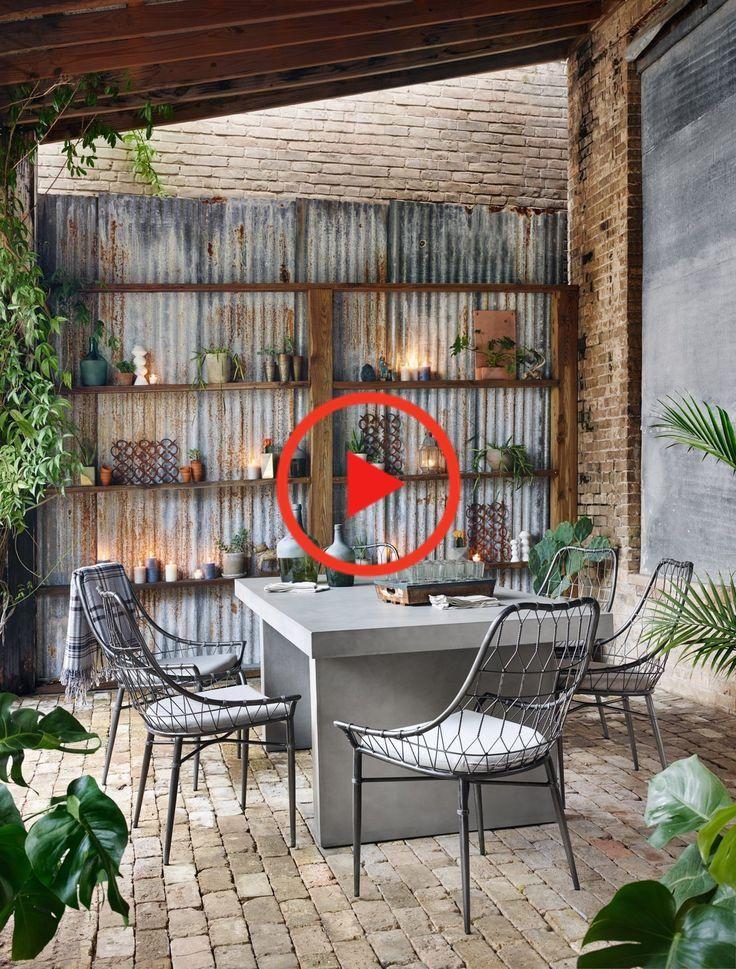 Arman Outdoor Dining Chair in Vintage Metal by BD Studio – BURKE DECOR #homedecor #decorideas