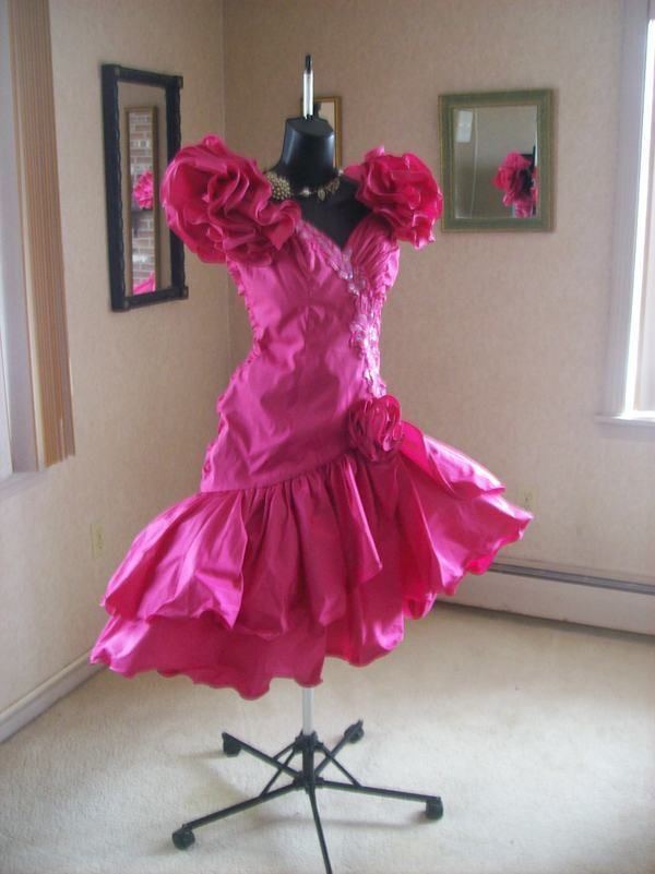 VINTAGE 80s HOT PINK PROM PARTY DRESS BEST IN SHOW TOTAL WILD CHILD ...