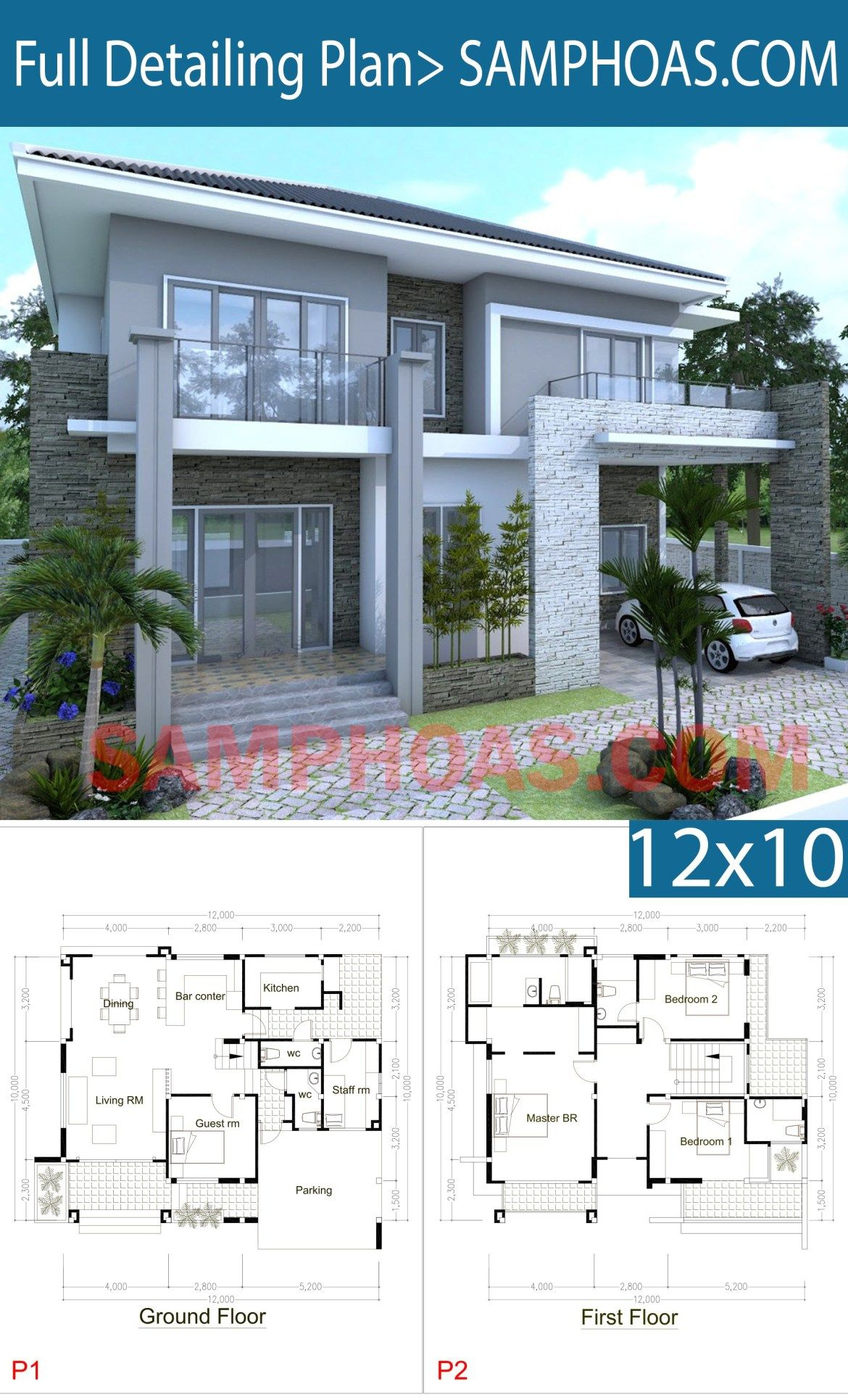 5 Bedrooms Modern Home 10x12m Samphoas Plansearch House Arch Design Contemporary House Plans Beautiful House Plans