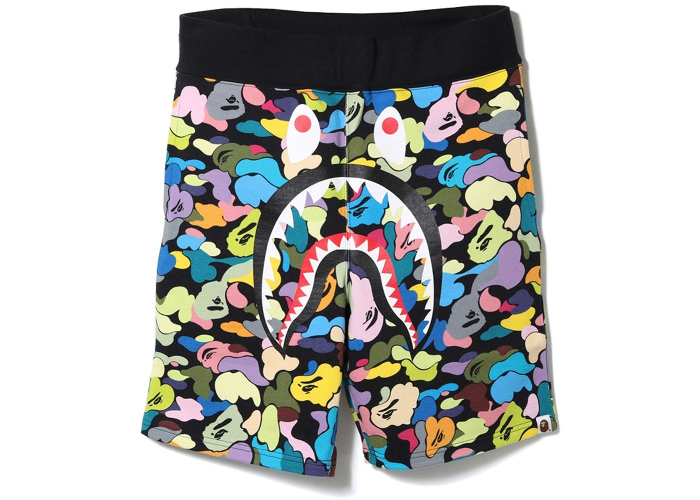 a47a79730c BAPE Multi Camo Shark Sweat Shorts Black | HypeBeast Streetwear ...