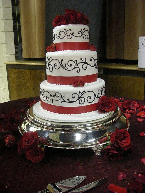 Black, red and white wedding cake (148) | Swirl design, White ...