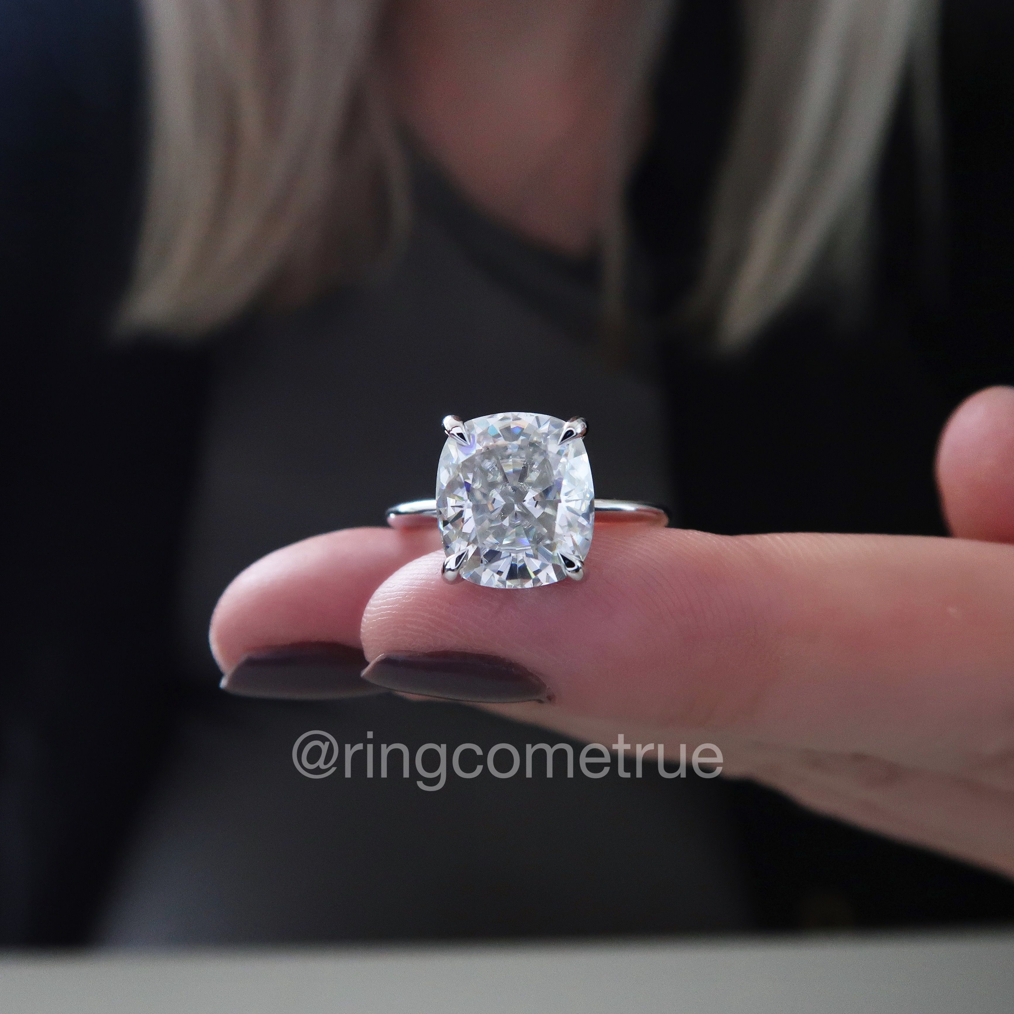 a500b5373 Crushed Ice elongated cushion cut Harro Gem moissanite solitaire engagement  ring. 14K white gold.