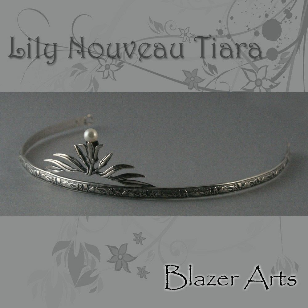 Lily Nouveau Tiara--Solid Sterling Silver set with a Genuine Fresh ...