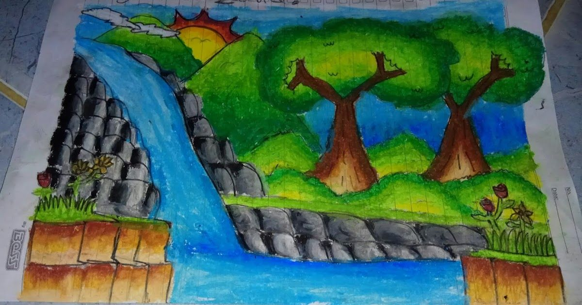 Baru 30 Gambar Lukisan Pemandangan Kelas Lukisan Pemandangan Air Terjun Maya Nur Zakira Download Pilih Dekorasi Cantik Dari Di 2020 Lukisan Drawings Pemandangan