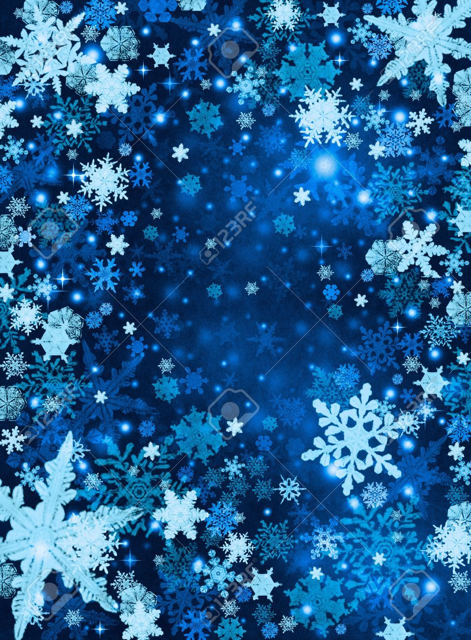 light and dark blue snowflakes on a paper background