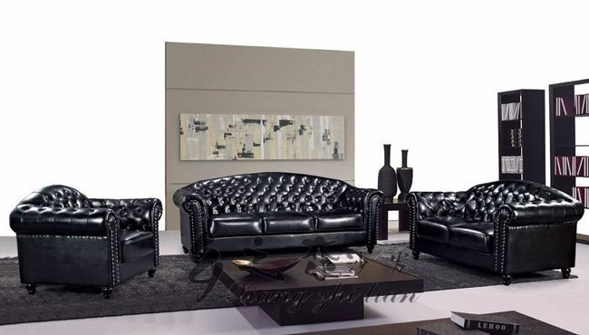 Royal Black Sectional Living Room Sofa Sets 321 Studded Leather