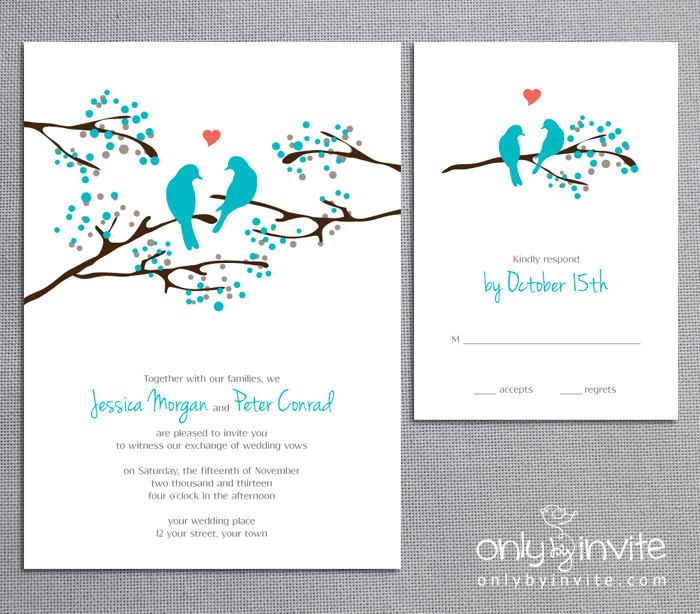 Love Birds Tree Whimsical Spring Wedding Invitationsprintable