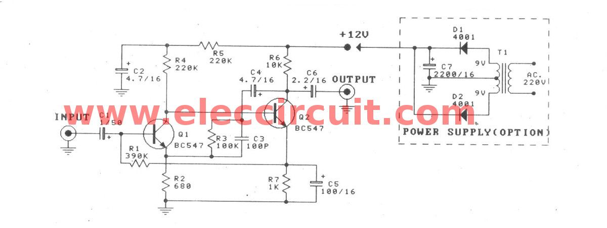 Dynamic Microphone Preamplifier Circuit Using C945 In 2020 Microphone Simple Circuit Dynamic