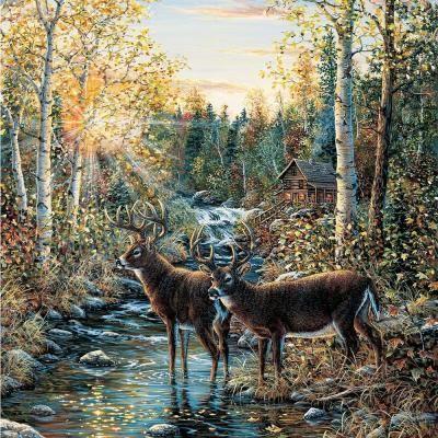 Brewster 72 in. x 72 in. Wild Deer Wall Mural 72024 Deer
