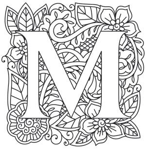 Mendhika Letter M Coloring Letters Embroidery Letters Colouring Pages