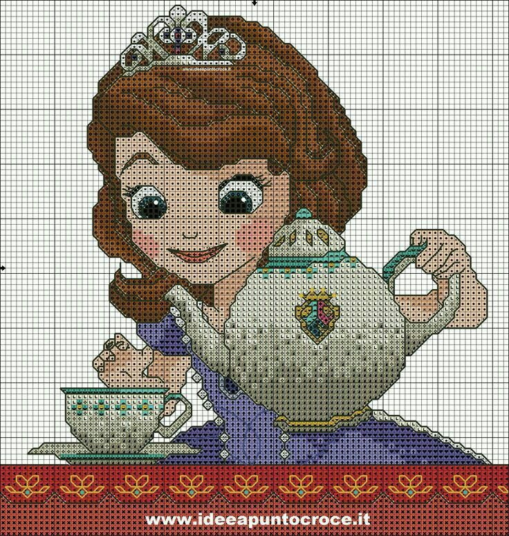 Princesita Sofía Disney Cross Stitch Cross Stitch Baby Cross Stitch Geometric