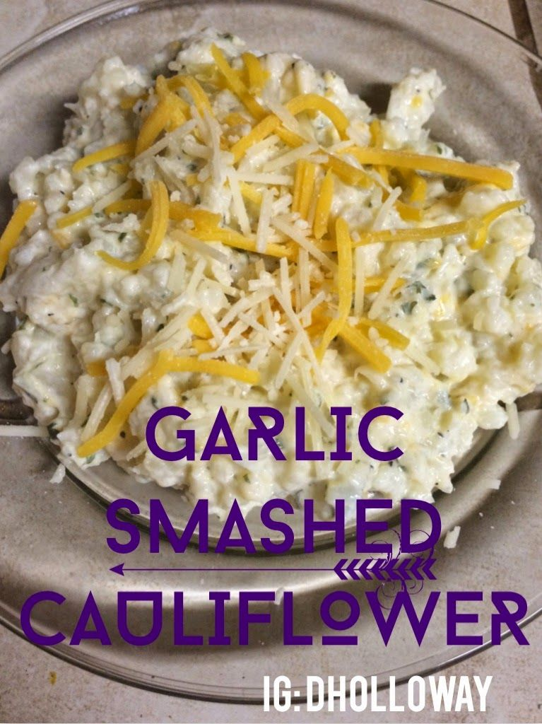 cauliflower 2 fresh garlic cloves 3/4 cup Plain greek yogurt  3/4 cup shredded cheese (set aside a bit for topping) 1 tsp garlic powder 1 tsp dried parsley flakes salt & pepper to taste chop cauliflower into smaller pieces. place about 1/4-1/2 inch of water in the bottom of a large frying pan. Put cauliflower and garlic on high heat, cover, steam for about 8-10 minutes until it starts to get soft, not mushy. drain Add to a bowl with rest of ingredients and mash together well!