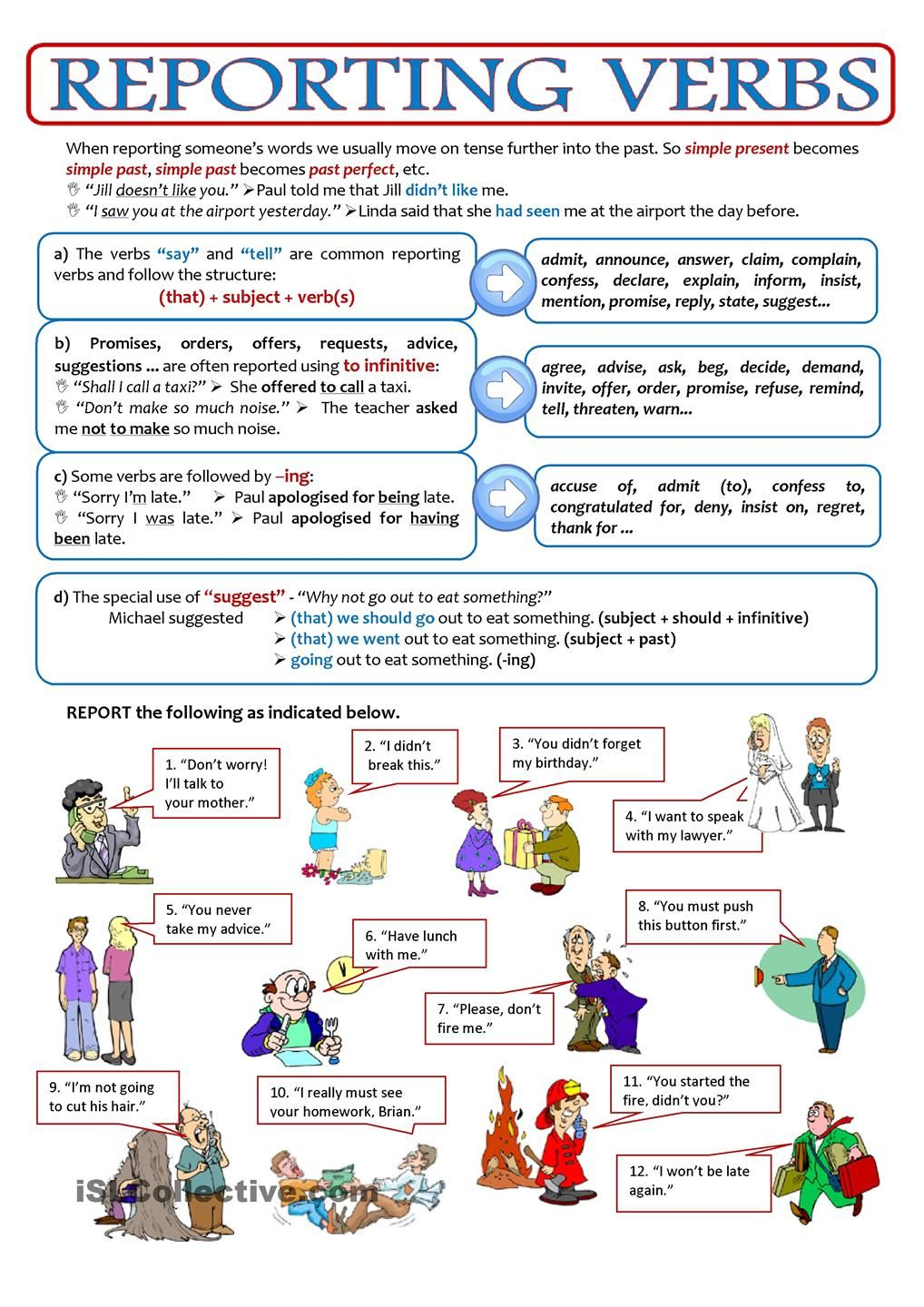 REPORTED SPEECH - reporting verbs | ESL worksheets of the day ...