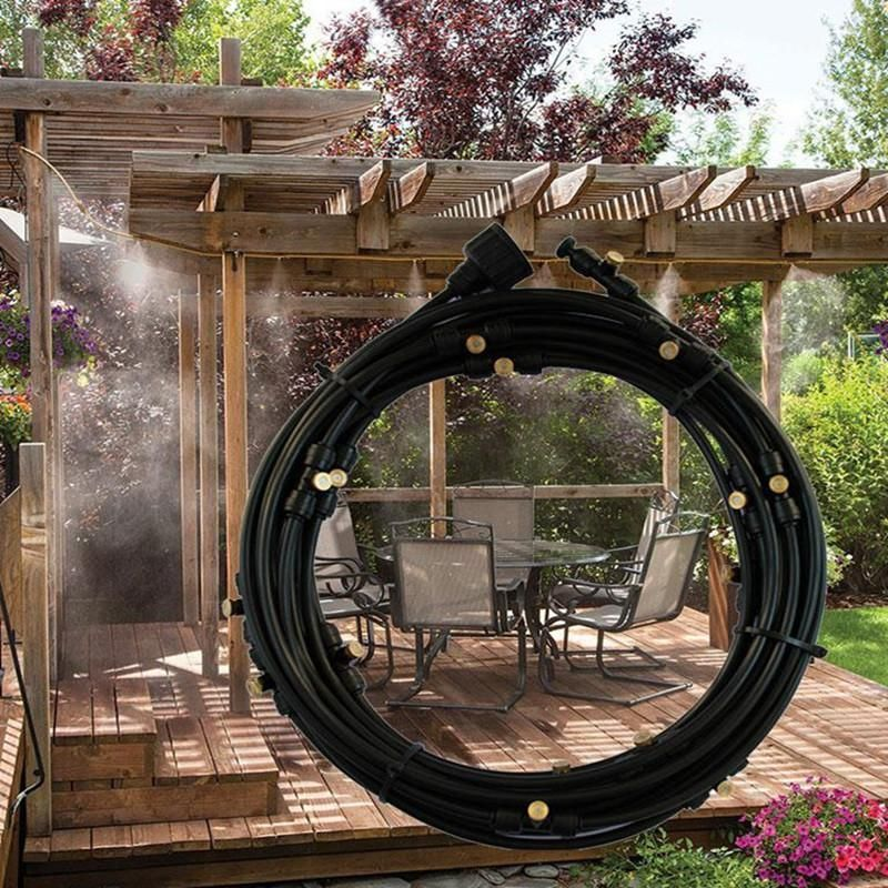Outdoor Patio Water Misting System Backyard Cooling Mister In 2020 Patio Misting System Backyard Water Feature Water Features