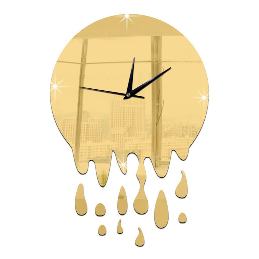 Acrylic Wall Clock Mirror Decoration golden without scale ...