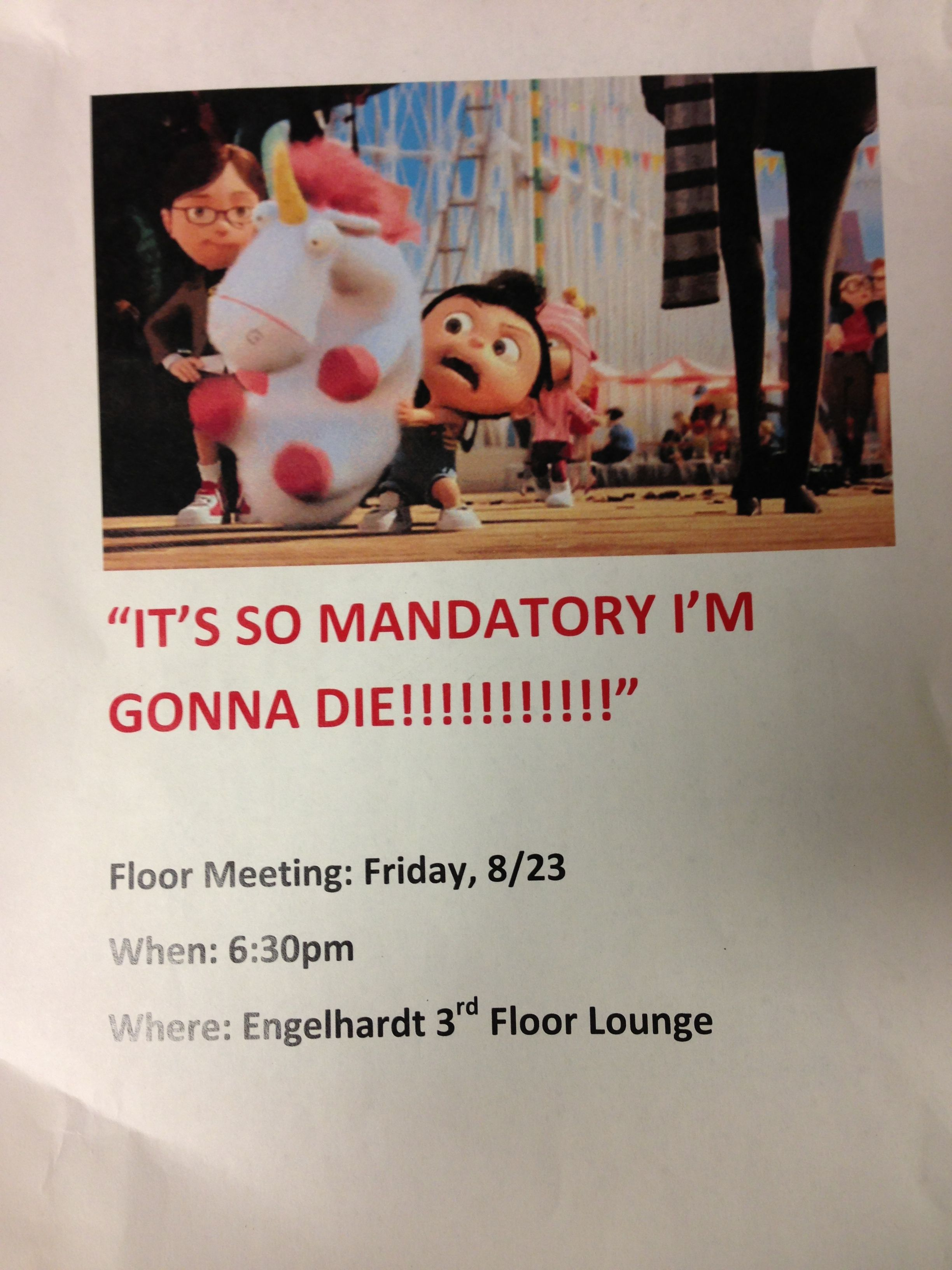 For a mandatory floor meeting despicable me themed