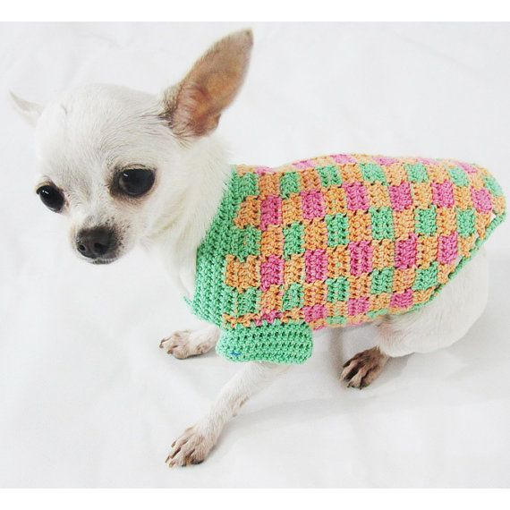 Perro ropa único patrón de cuadros para mascotas ropa por myknitt ...