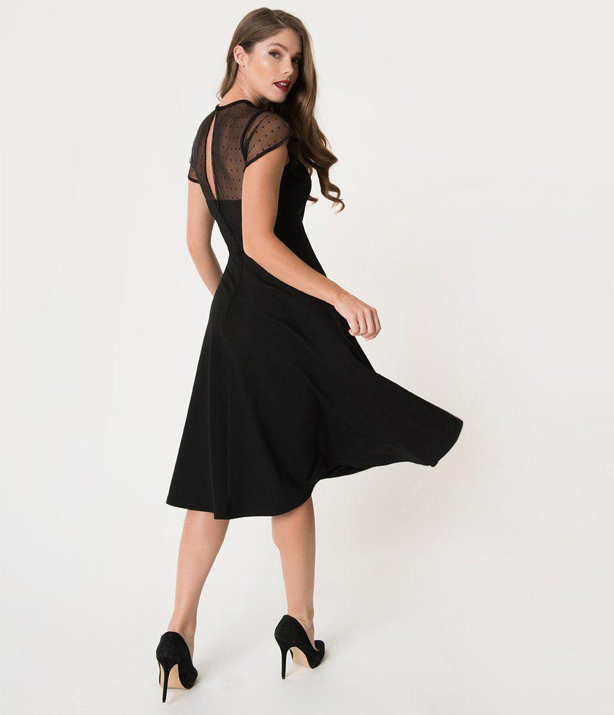 Unique Vintage 1940s Style Black Swiss Dotted Mesh Heather Midi Dress Cocktail Dress Classy 1940s Vintage Dresses Little Black Dress Classy [ 1023 x 879 Pixel ]