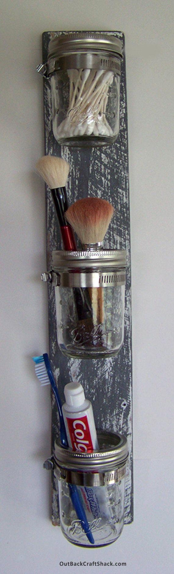 Mason Jar Decor Bathroom Organizer 3 Jar Vertical
