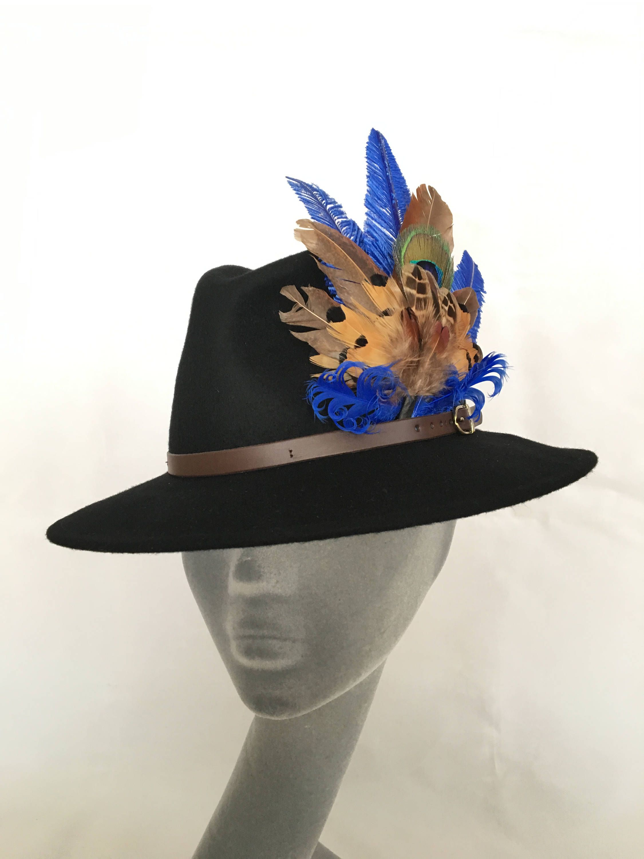 09784b9fcde73 ARABELLA Ladies Black Wool Felt Trilby with Pheasant Feather Trim - Perfect  for Cheltenham Races