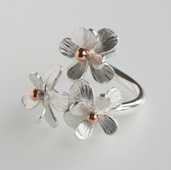 Handmade Adjustable Silver Daisy Flower by CarolineBrookJewelry