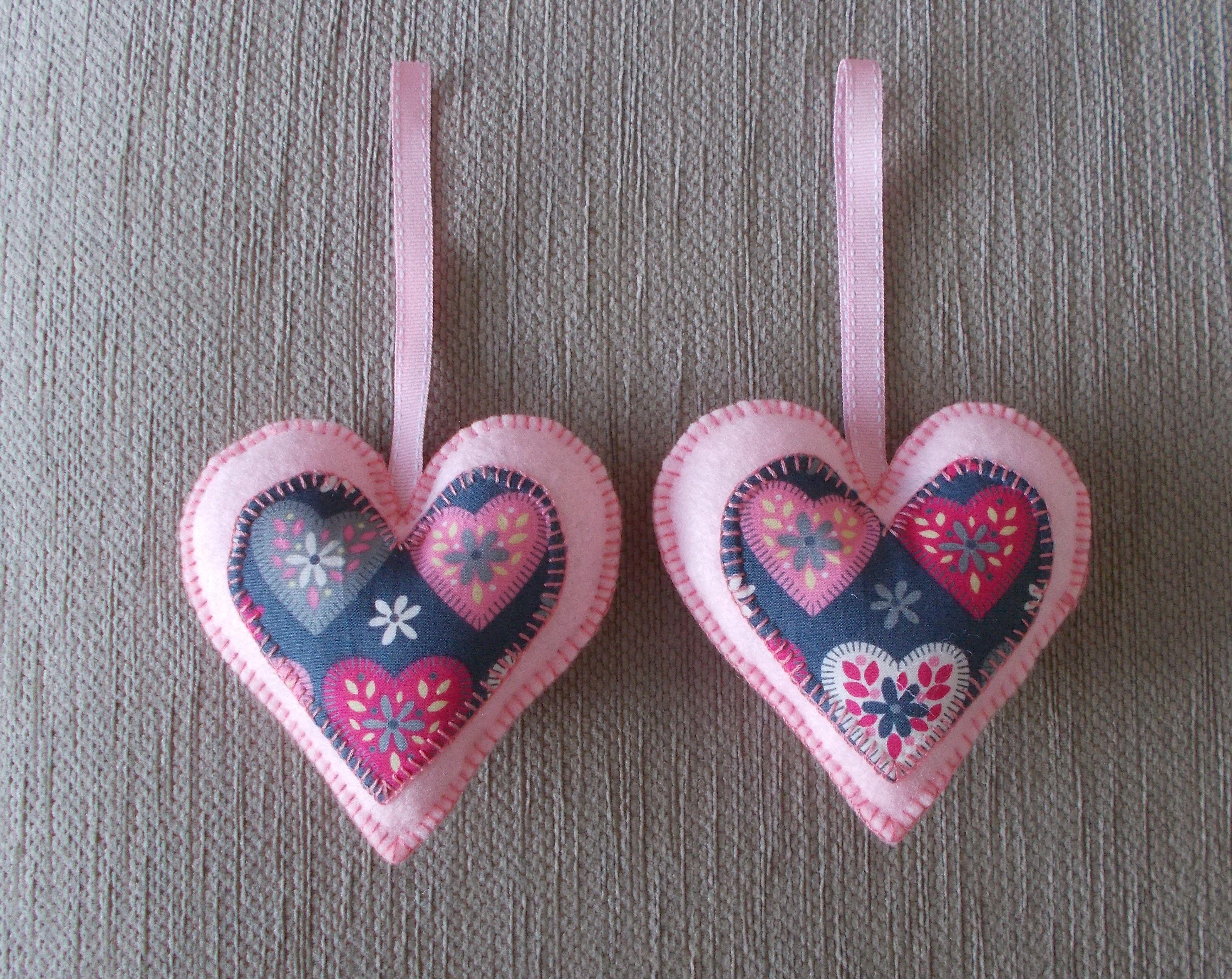 A Handmade Pair Of Pink Felt Love Heart Hanging Decorations Handmade Pink Love Heart
