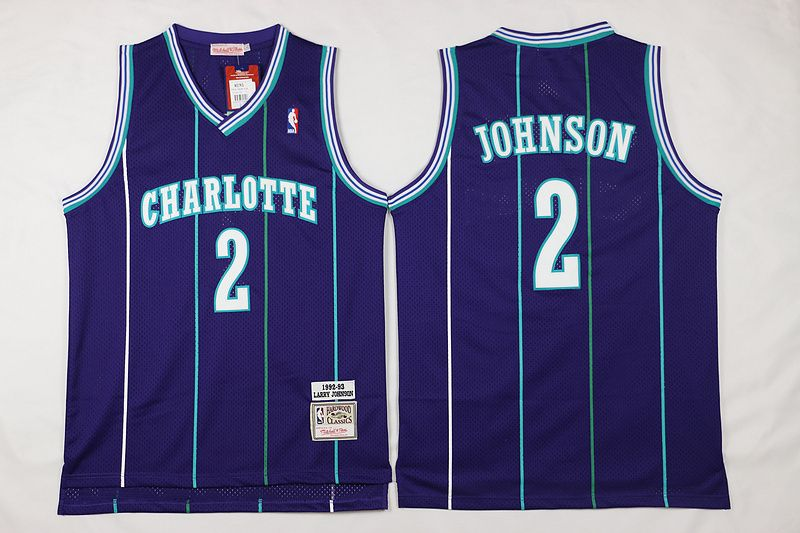 low priced a1279 a00ea Mitchell And Ness Charlotte Hornets #2 Larry Johnson Purple ...