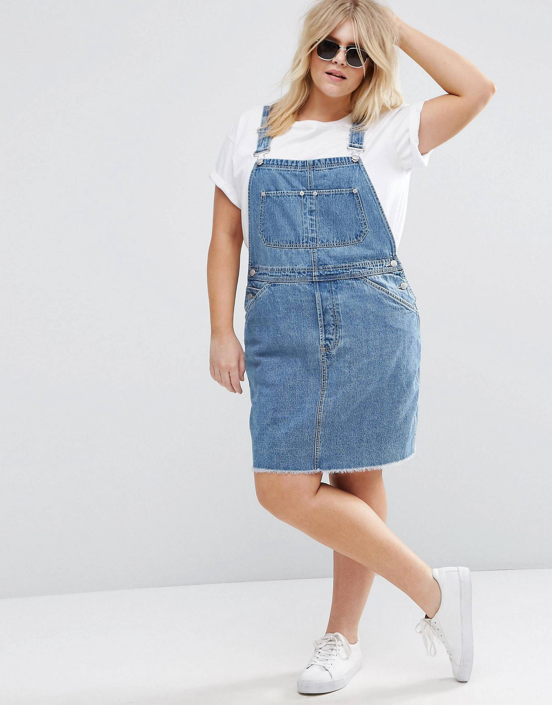 ASOS CURVE Dungaree Dress in Mid Wash Blue | Latest fashion ...