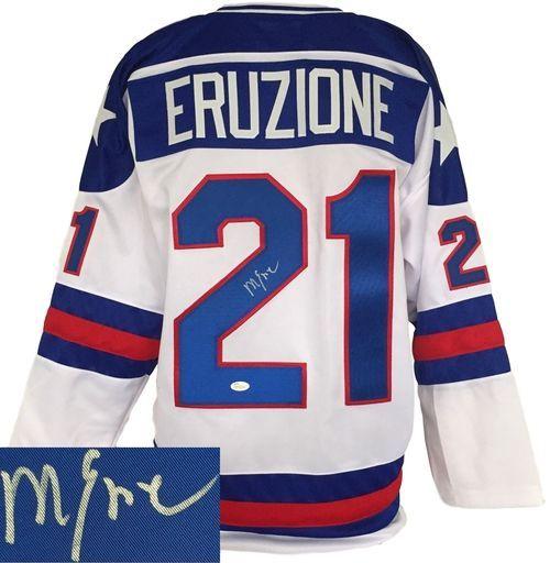 Mike Eruzione Signed Usa Miracle On Ice Custom White Hockey Jersey Jsa Itp Hockey Jersey Jersey Hockey
