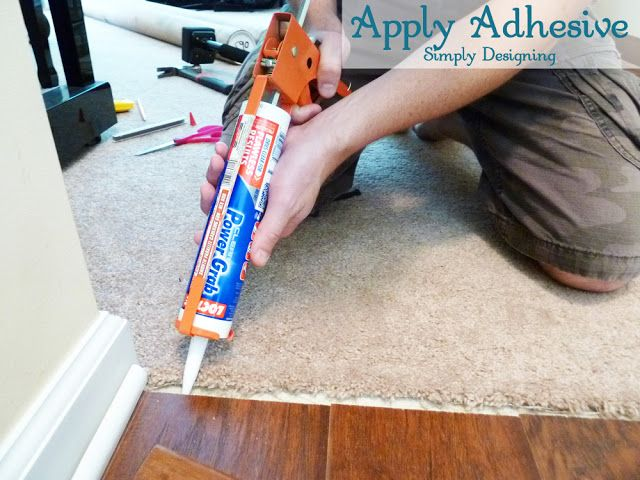 Apply Adhesive For Transition Strip Diy Carpet Laminateflooring Flooring Homeimprovement At Simply Designing
