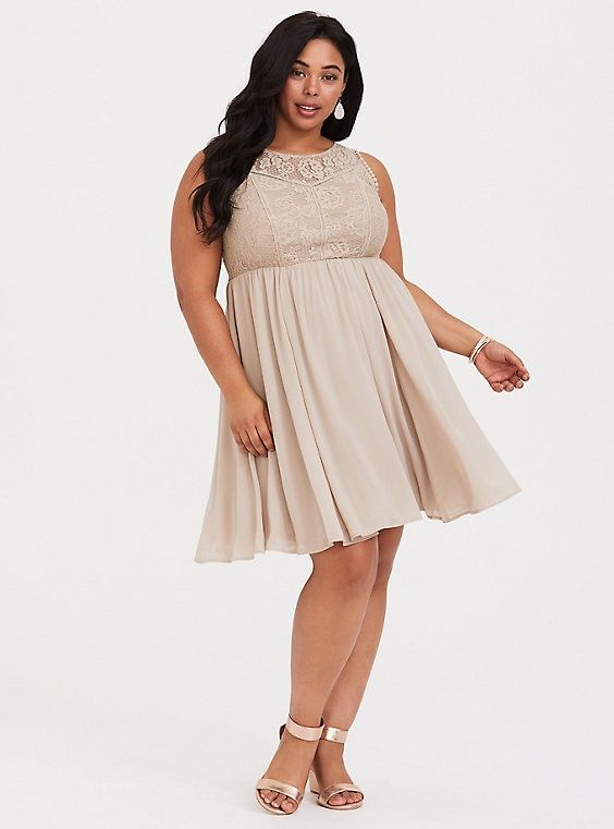 ac010334f779ba Stone Beige Lace   Chiffon Skater Dress