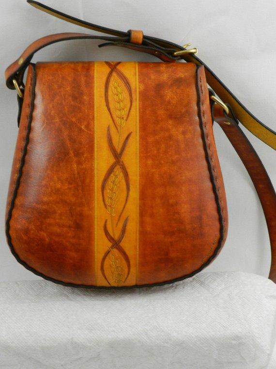 7f2d1509c1a Handmade Latigo Leather Shoulder   Crossbody Bag - Hand-dyed, hand tooled,  hand-stitched - Solid Bra