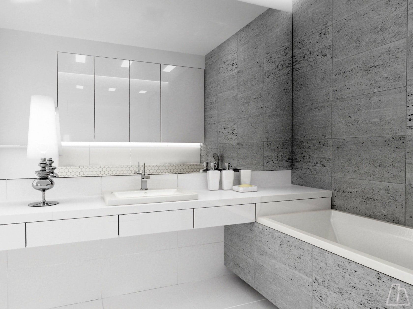 Project of a bright, modern bathroom with large mirror which scales ...