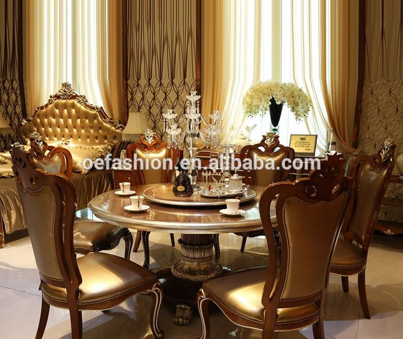 Luxury Dinner Furniture 6 Seater Round Dining Table And Chair Set