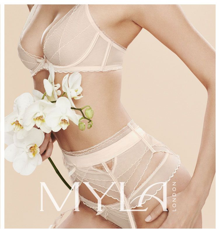 The Danity Collection! The fine fabric is embellished with a dainty scalloped trim of Austrian embroidery, adding texture and pattern to the minimalist designs.  #BridalLingerie #LuxuryLingerie #Bridal #Myla #AbeautifulEscape