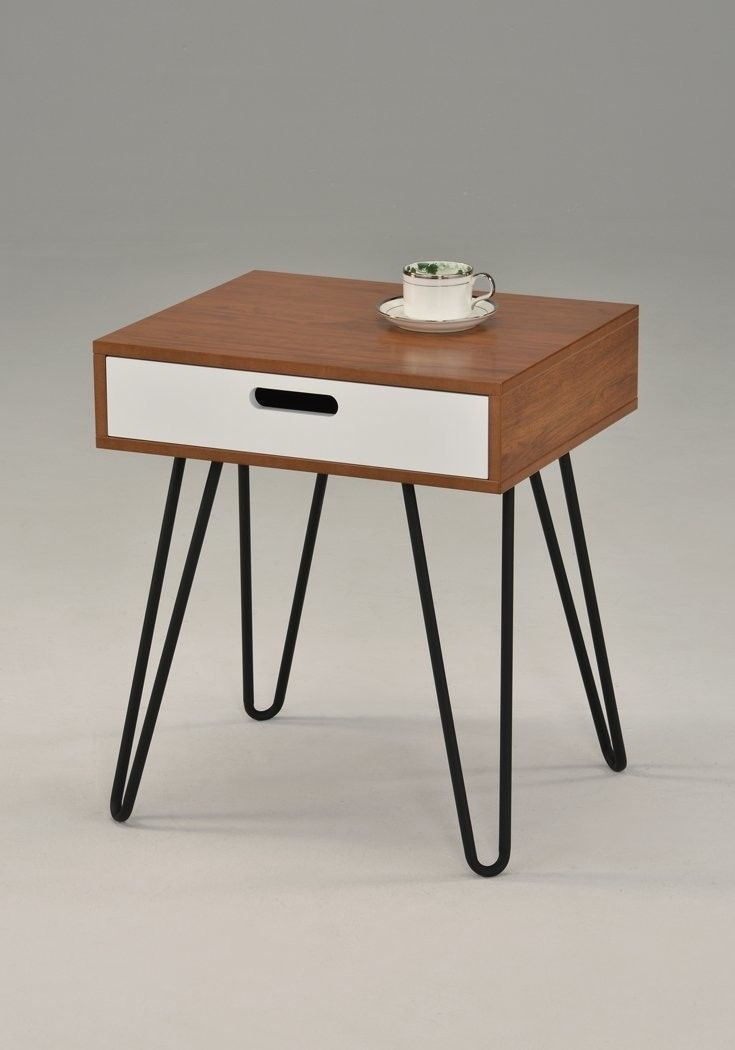 Black Metal Bedside Tables: Modern Nightstand End Table Bedroom Black White 1 Drawer