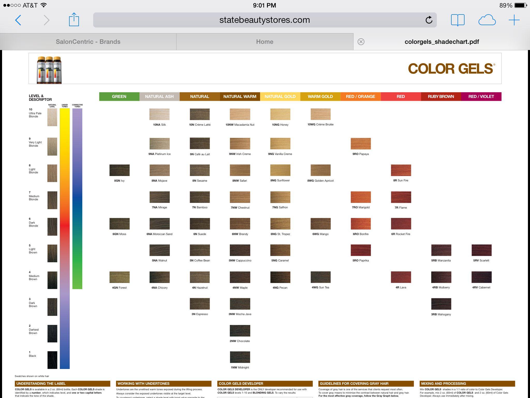 Redken Color Gels Chart Pdf