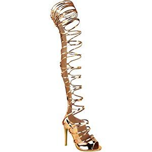 4cbe397612b3e Fashion Thirsty Womens Thigh High Lace Up Stiletto Sandals Party Boots Size