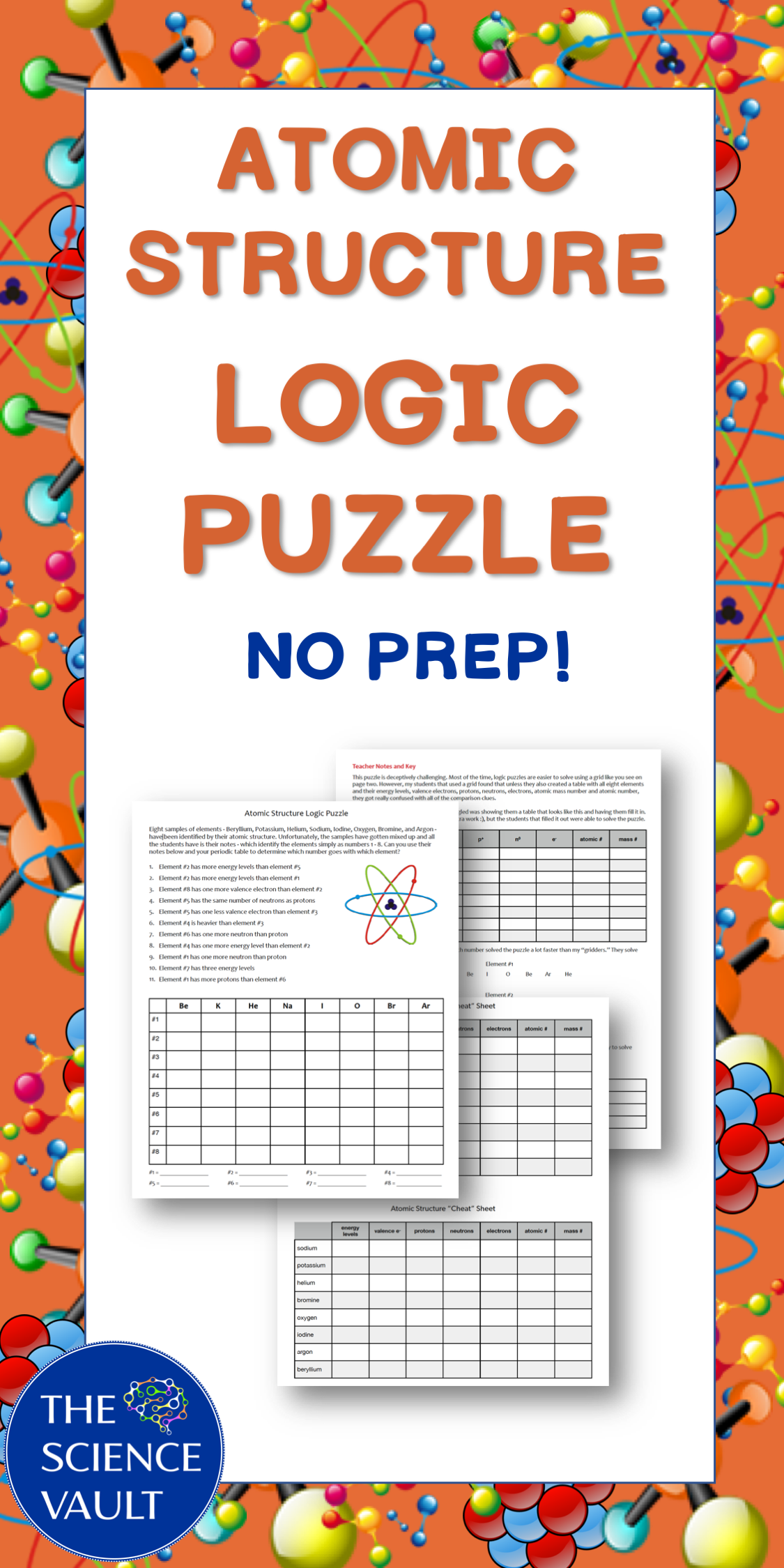Atomic Structure Logic Puzzle A Great Activity For