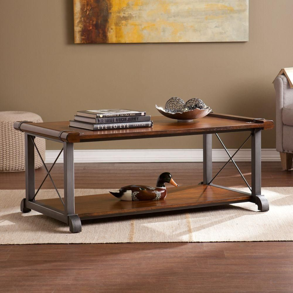 Helen Rubberwood Coffee Table Veneer With Cast Iron Finish