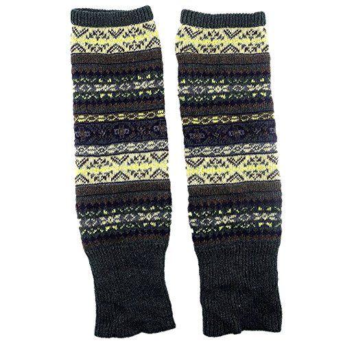Adorox Women Fair Isle Print Knit Leg Warmer Warm Winter Legwear ...