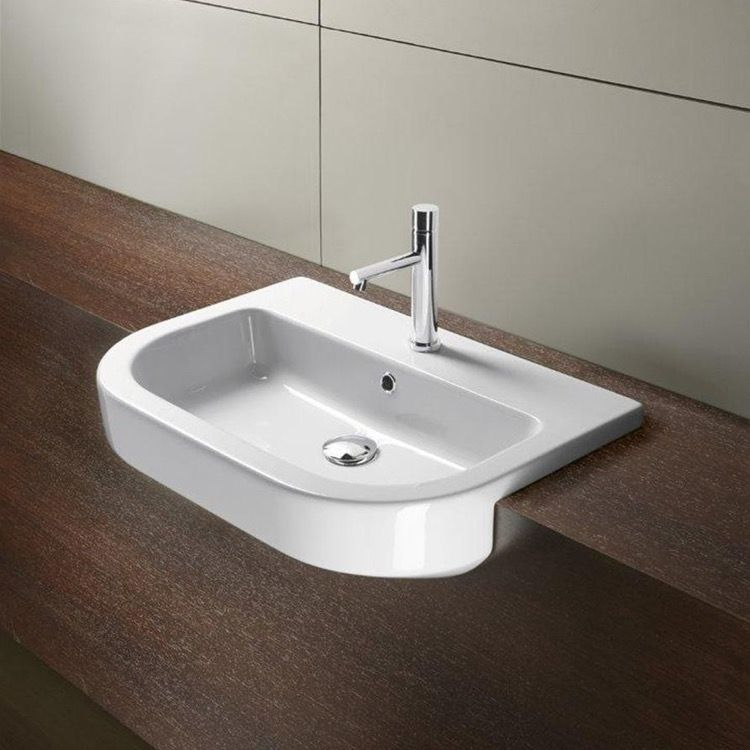 Great Bathroom Sink, GSI 694511, Curved White Ceramic Semi Recessed Bathroom Sink  694511