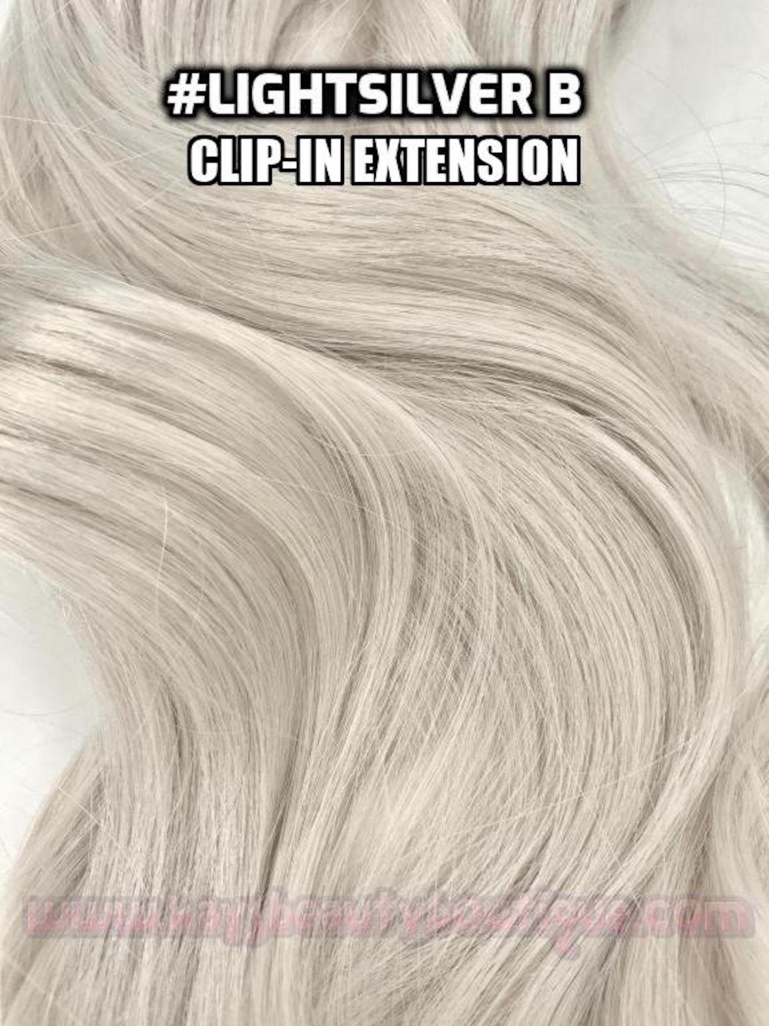 100 Human Hair Light Silver Grey Gray Hand Made Clip In Hair