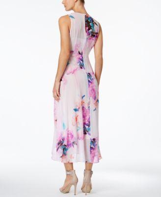 Calvin Klein Floral Print High Low Midi Dress Purple 12