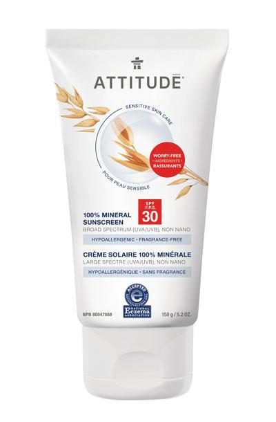 Attitude Sensitive Skin Sunscreen Spf 30 Fragrance Free National Eczema Association In 2020 Spf Sunscreen Fragrance Free Products Mineral Sunscreen